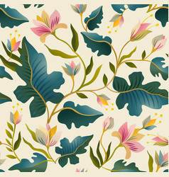seamless pattern with beautiful fantastic plants vector image