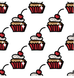 seamless pattern with cute cupcake with cherry vector image