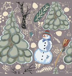seamless winter pattern colorful design vector image
