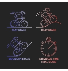 Set of 4 linear icons of cycling race stage types vector