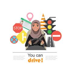 set of road symbols and driver arab businesswomen vector image