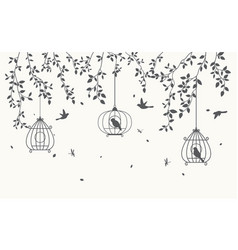 silhouette leaves background with birdcage vector image