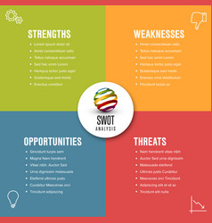 simple swot template vector image