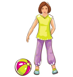 Sketch of girl with ball vector image