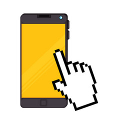 smartphone device with hand pointer vector image