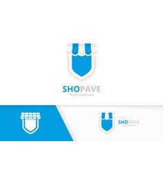 Store and shield logo combination market vector