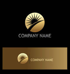Sun rise solar gold logo vector