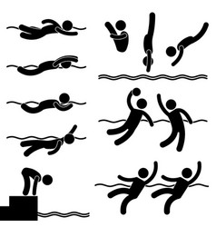 swimming aqua aquatic sport game icon symbol sign vector image