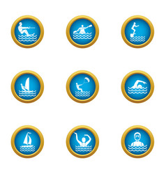 Swimming in water icons set flat style vector