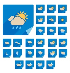 Trendy Flat Weather Icon Set With Long Shadow vector