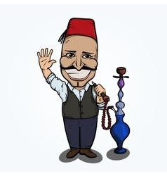 Turkish man with hookah waving hand vector