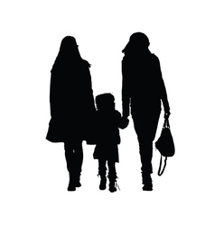 Two woman with girl vector