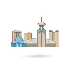 vancouver canada city silhouette icon vector image