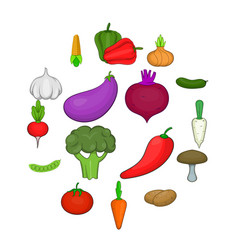 vegetables studio icons set cartoon style vector image