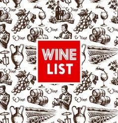 Vintage wine menu background Hand drawn sketch vector image