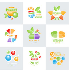 Vitamins logo set original design colorful vector