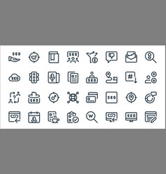 Web apps seo line icons linear set quality line vector