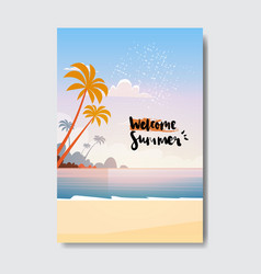 welcome summer landscape palm tree beach badge vector image