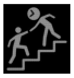 white halftone time manager help icon vector image