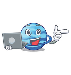 With laptop plenet uranus images in character form vector