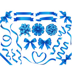 a set of blue ribbons vector image vector image