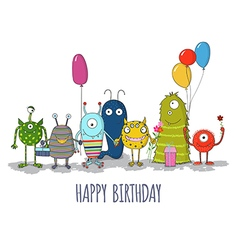 Cute colorful monsters happy birthday card eps10 vector image