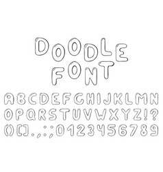 doodle font hand drawn alphabet with numbers vector image