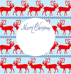 Greeting card Merry Christmas with reindeers vector image vector image