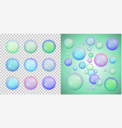 Set of colorful soap bubbles with different colors vector