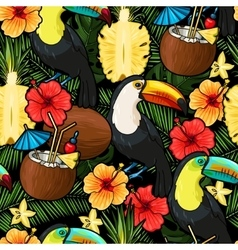 Toucan and tropical cocktail seamless vector image vector image