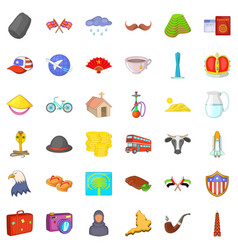 world landmark icons set cartoon style vector image vector image