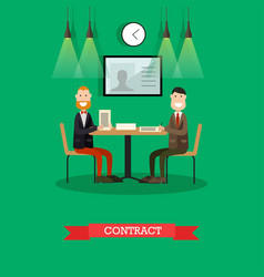business contract in flat vector image vector image