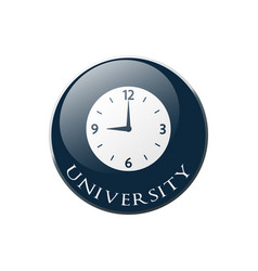 Clock icon on round dark blue button collection vector