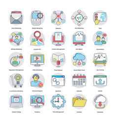 flat icons of digital and internet marketing vector image