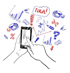 Hands touchscreen sketch business vector image vector image