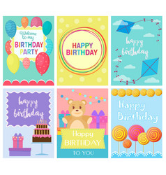 happy birthday collection set of invitation cards vector image vector image