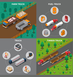 heavy automotive vehicles isometric concept vector image