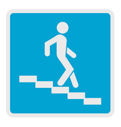 man descending the stairway icon flat style vector image