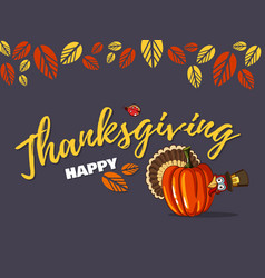 thanksgiving greeting card with turkey vector image