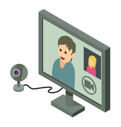 video chat icon isometric 3d style vector image