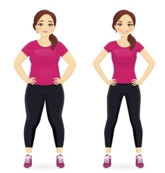 Before and after diet woman vector