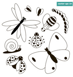 insect set vector image vector image
