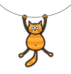 Playful red cat vector image