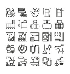 sewerage line icons sewage signs vector image vector image