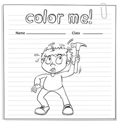 Coloring worksheet with a boy holding a hammer vector image