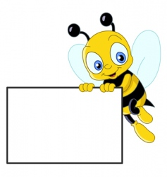 cute bee with sign vector image vector image
