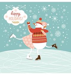 Cute snowmans skate vector image