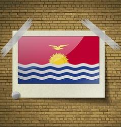 Flags Kiribati at frame on a brick background vector image vector image