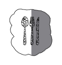 scale contour cutlery tools icon vector image