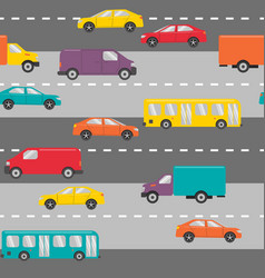seamless pattern with cars on the road vector image